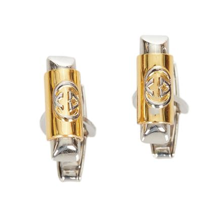 Gucci Silve & Gold Tone Interlocking G Cufflinks