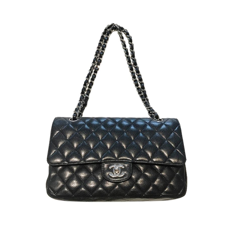Chanel Black Caviar Leather Double Flap Bag