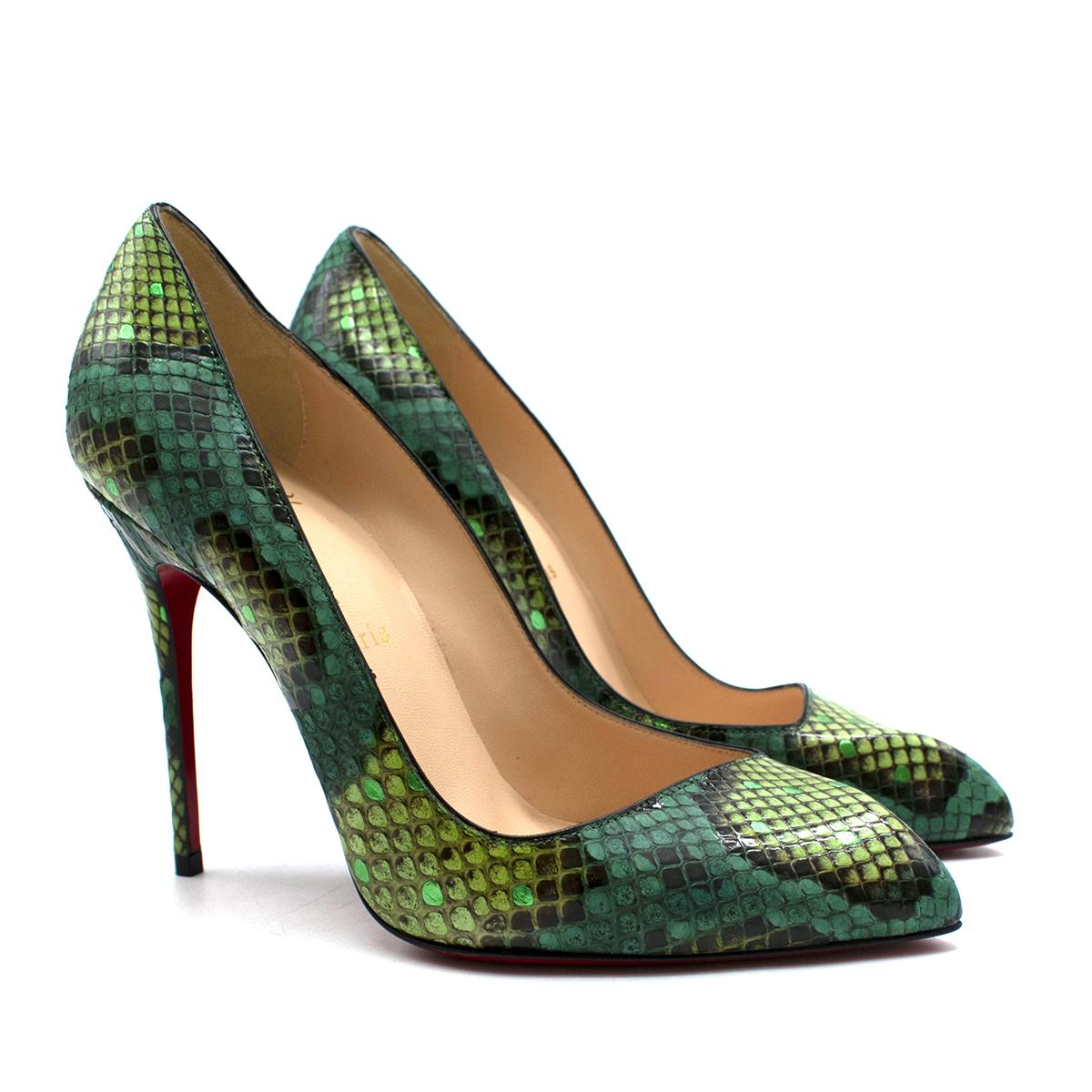 Christian Louboutin Green Snakeskin Pumps