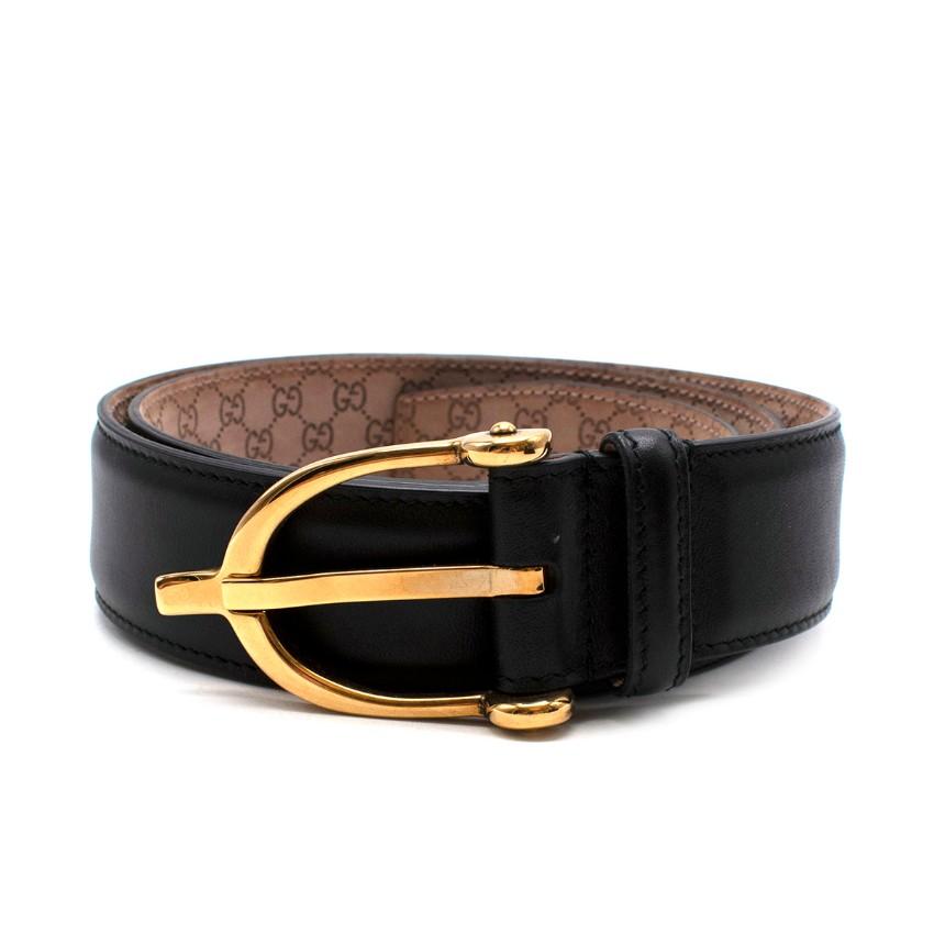 Gucci Black Leather Spur Belt