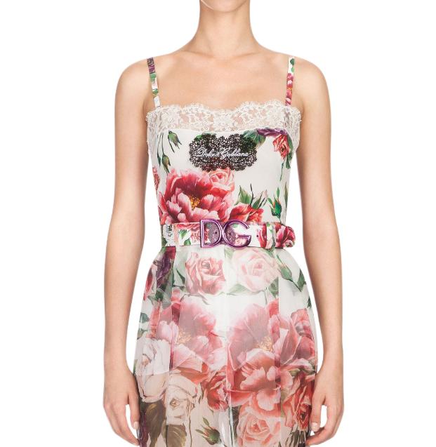 Dolce & Gabbana Lace Trimmed Silk Cami Top