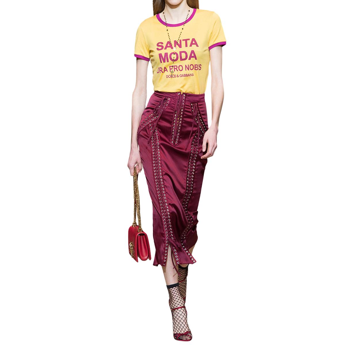 Dolce & Gabbana Satin Lace-Up Corset Midi Skirt