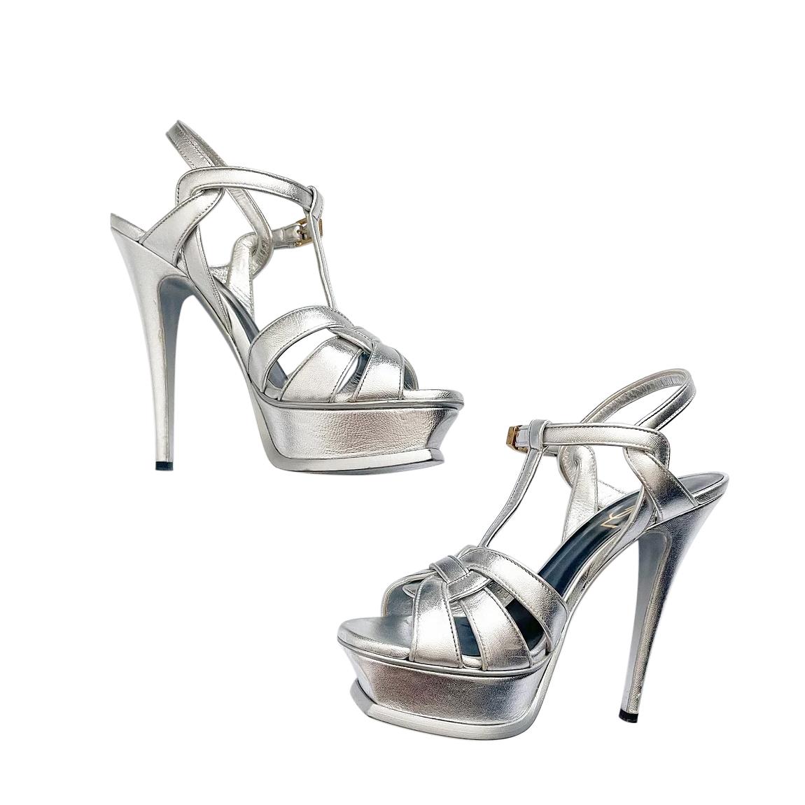 Saint Laurent Silver Platform Tribute Sandals