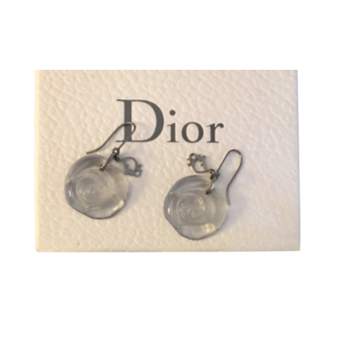Dior Plexi Flower Drop Earrings