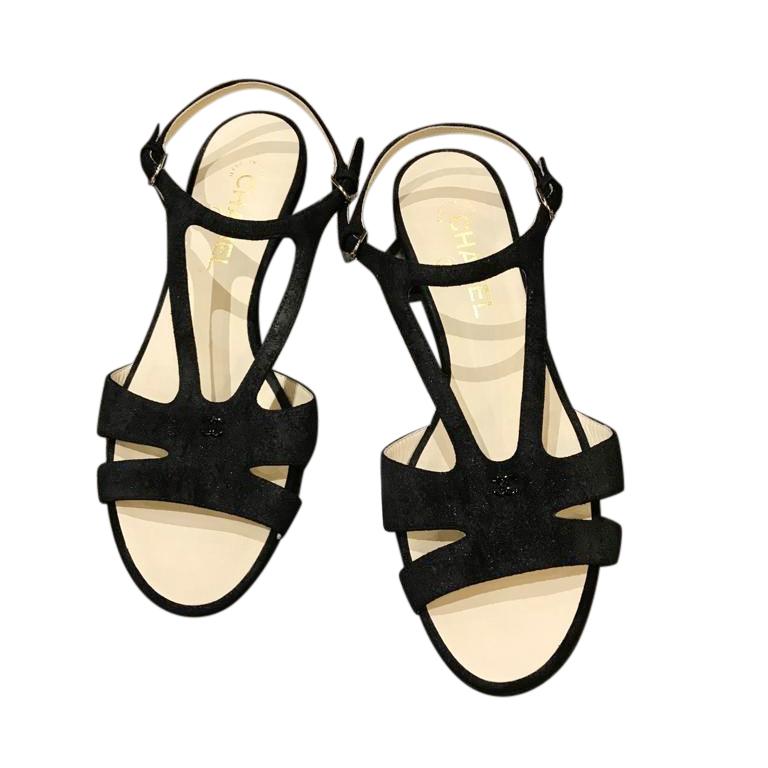 Chanel Black Suede Cut-Out Flat Sandals