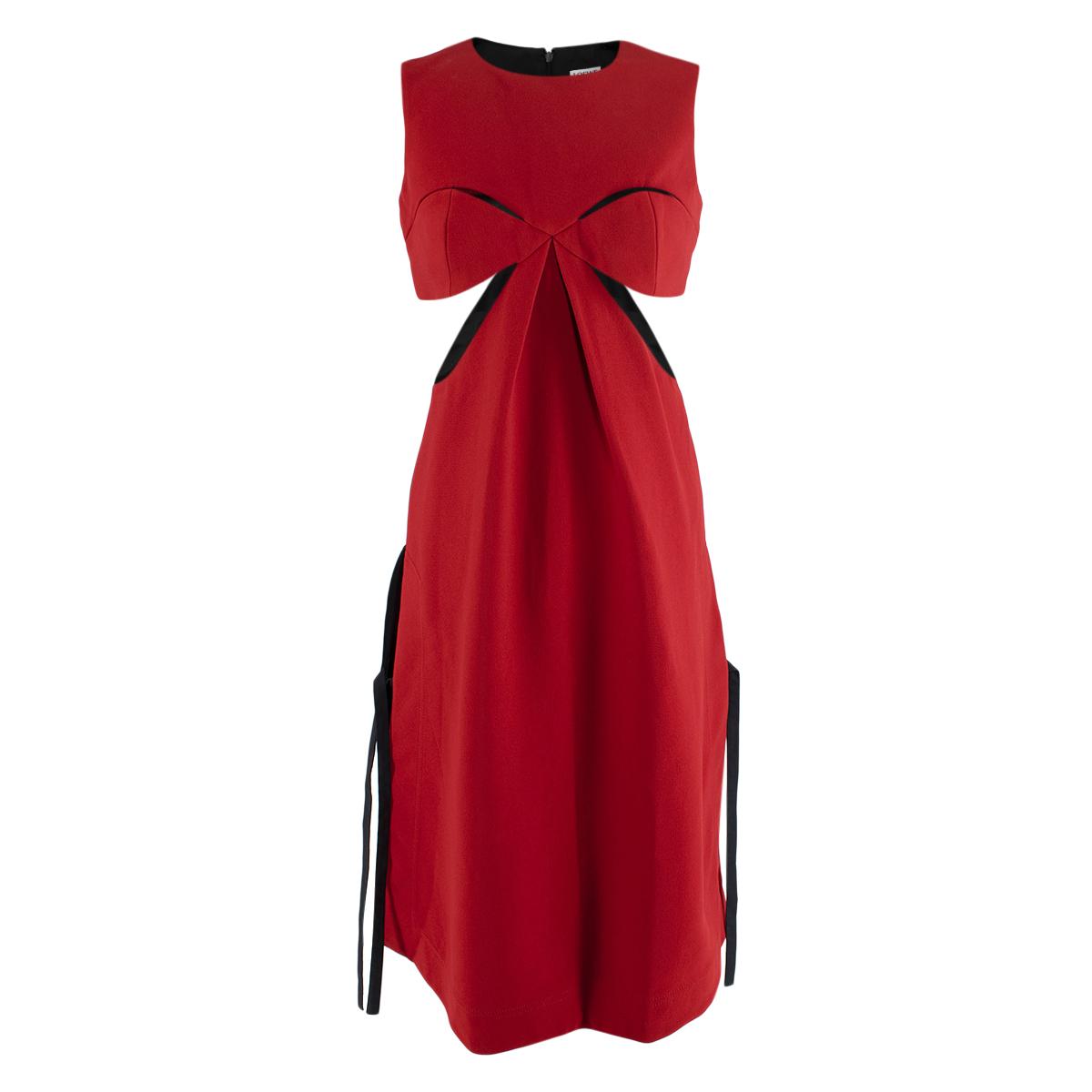 Loewe Red & Black Tie Detail Cut-Out Sleeveless Dress