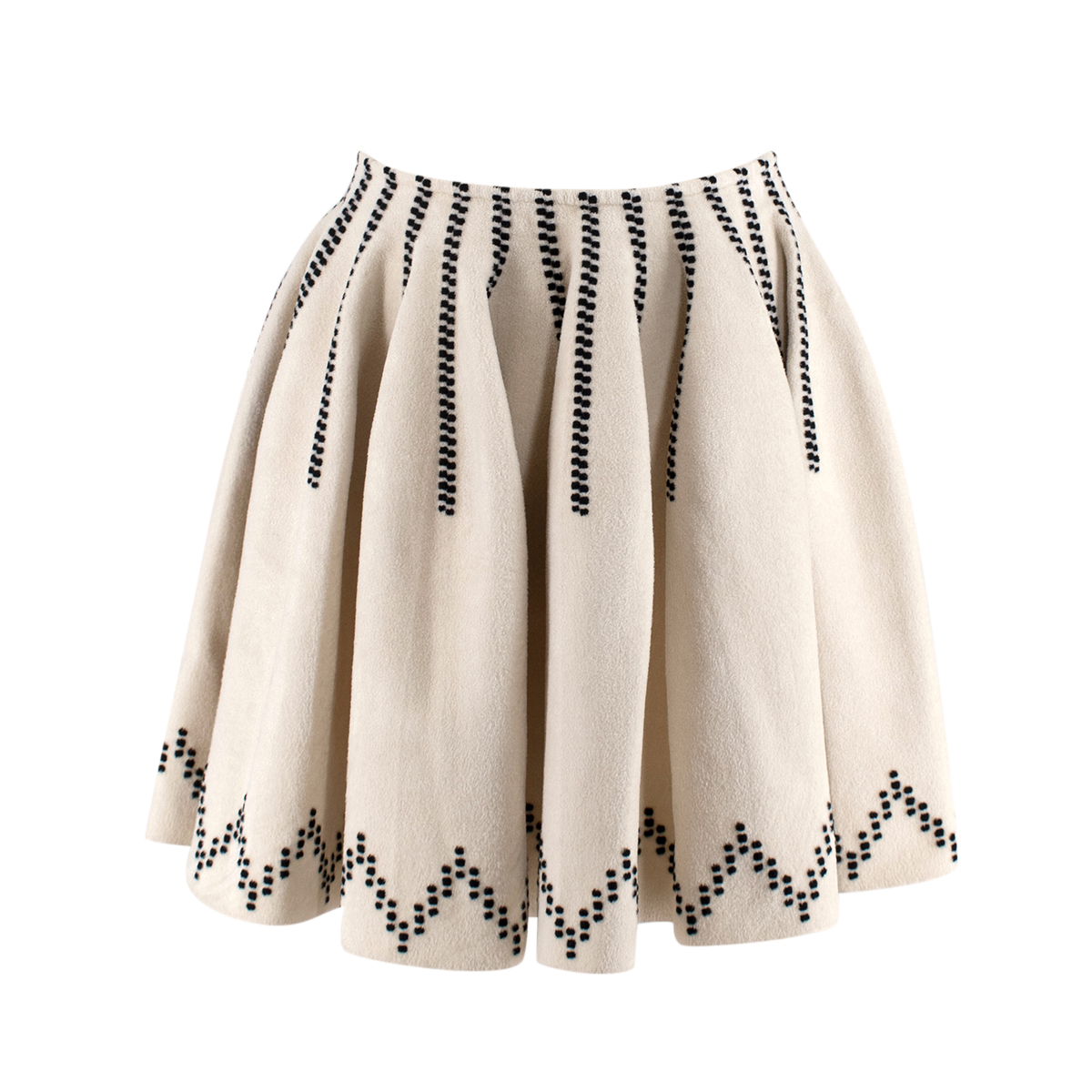 Alaia Cream Embroidered Wool Blend Pleated Skirt