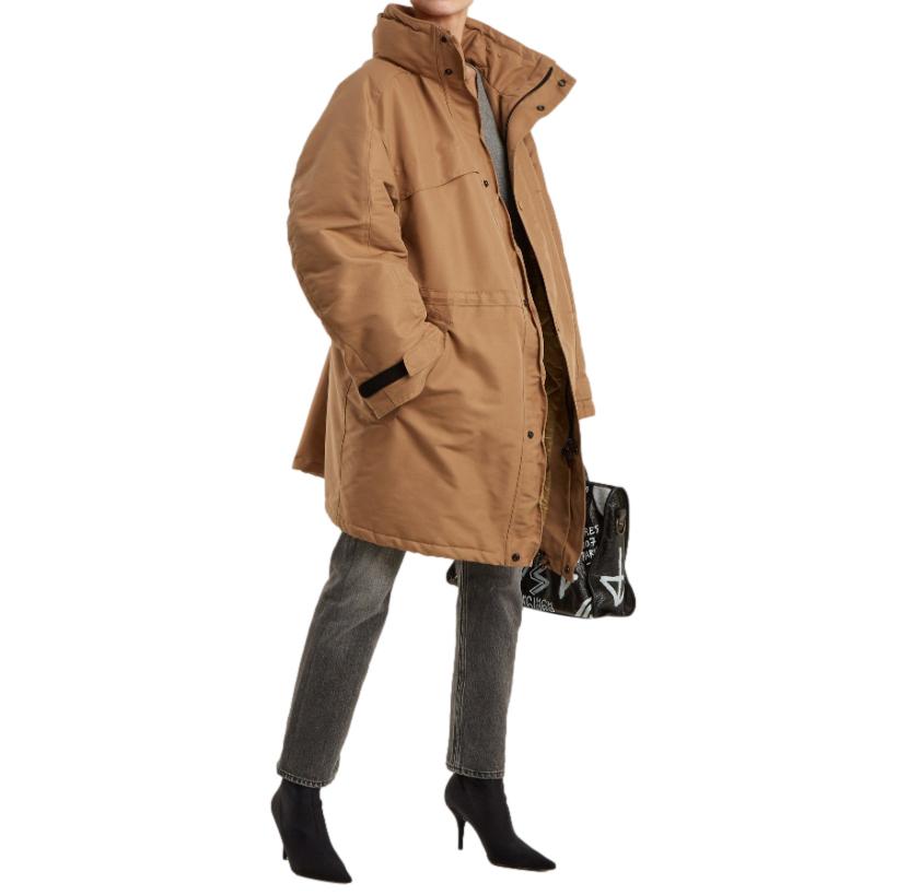 Balenciaga Funnel Collar Padded Beige Jacket