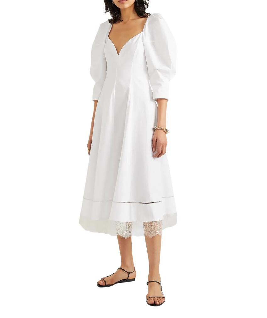 Khaite Lace Trim White Cotton Midi Dress
