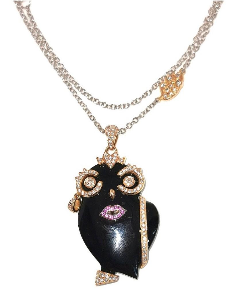 Madame Onyx, Diamond & Sapphire Owl Pendant