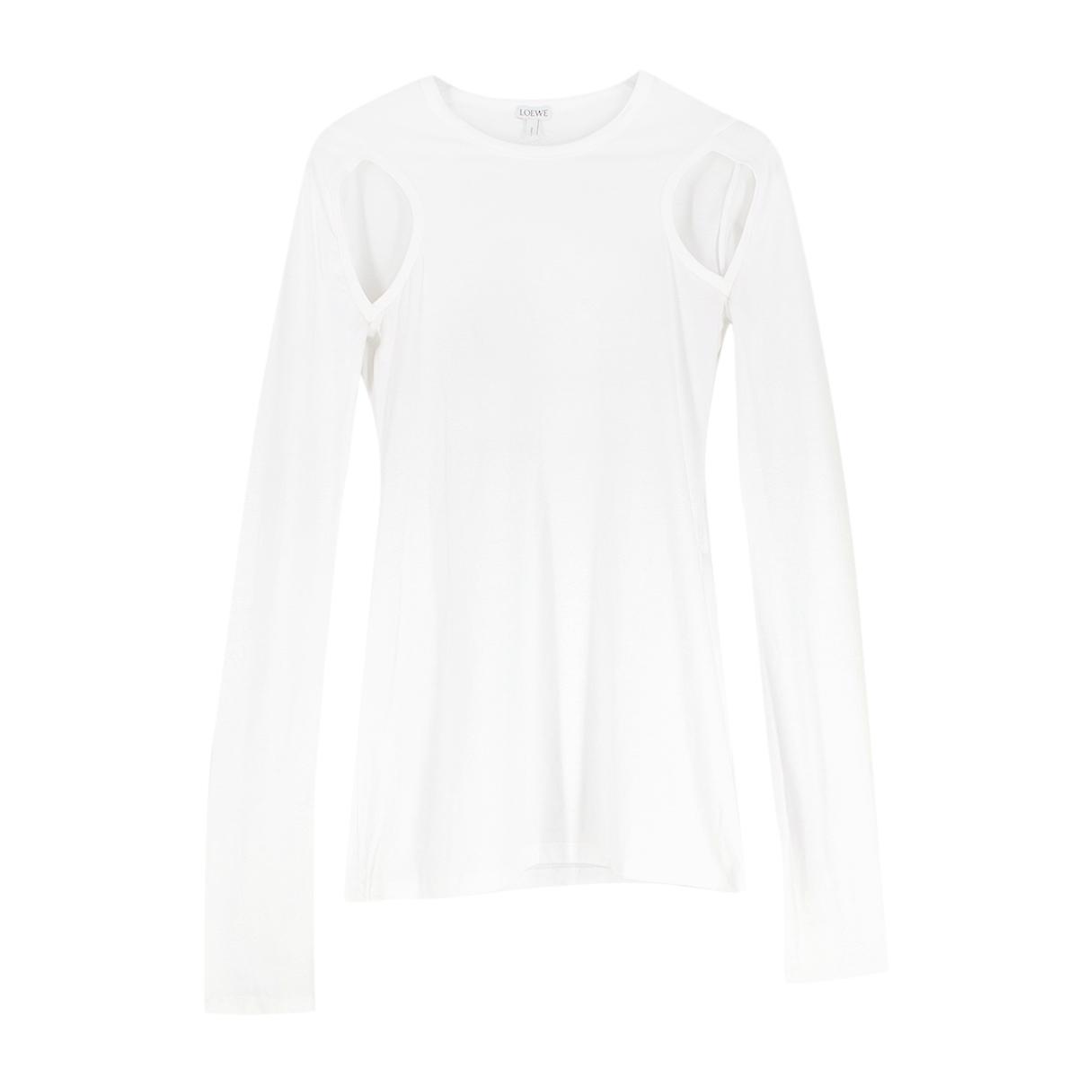 Loewe White Cut Out Long Sleeve T-Shirt