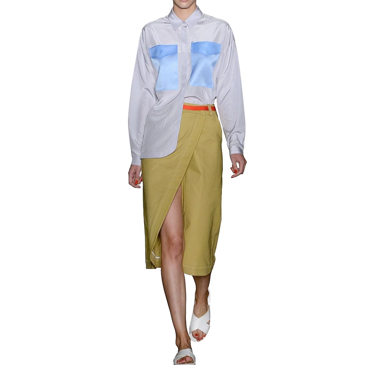 Ostwald Helgason Grosgrain Trim Khaki Utility Skirt
