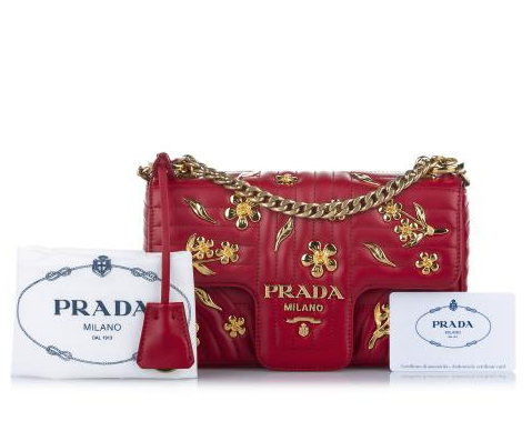 Prada Red Leather Diagramme Crossbody Bag