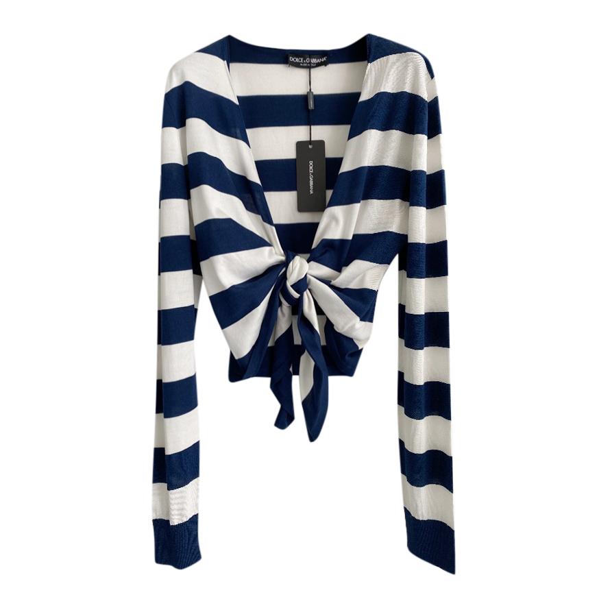 Dolce & Gabbana Blue & White Striped Self Tie Cardigan