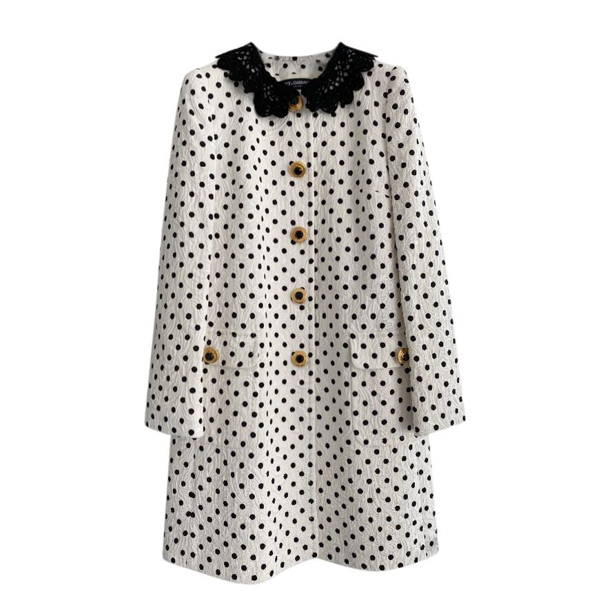 Dolce & Gabbana jacquard polka dot coat
