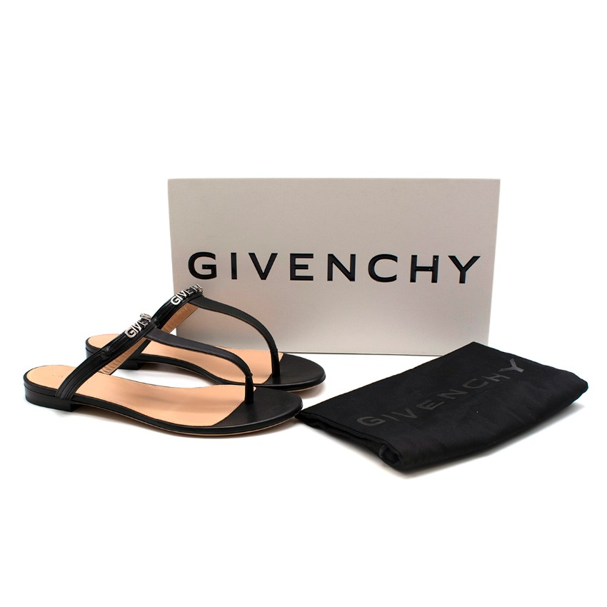 Givenchy Elba Flat Thong Black Leather Sandals