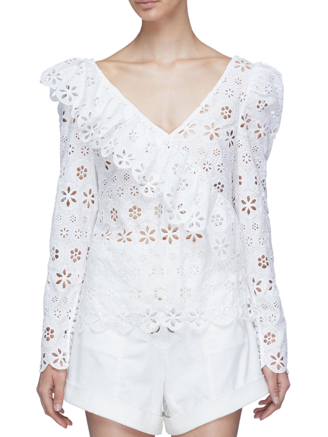 Self Portrait Ruffle-trim broderie-anglaise top