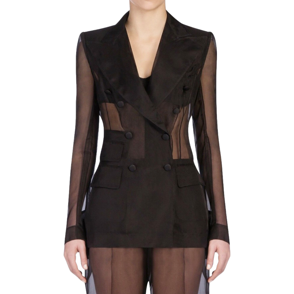 Dolce & Gabbana Sheer Black Double Breasted Tailored Jacket