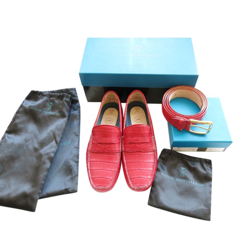 Sutor Mantelassi Red Crocodile Driving Loafers & Belt