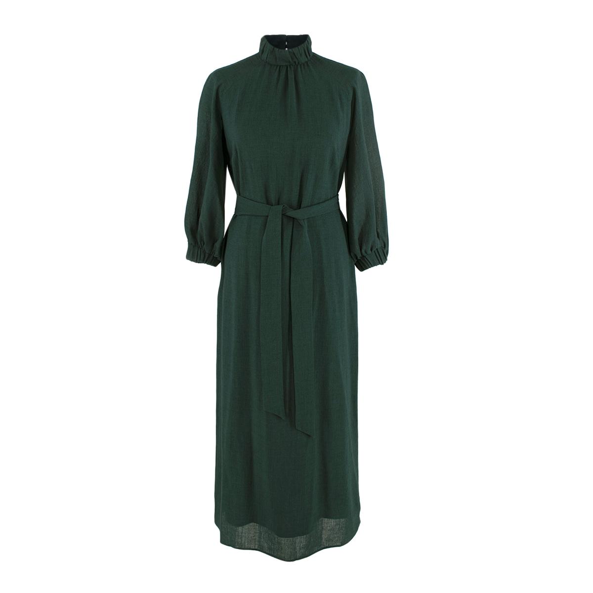 Cefinn High Neck Dark Green Tie-Waist Dress