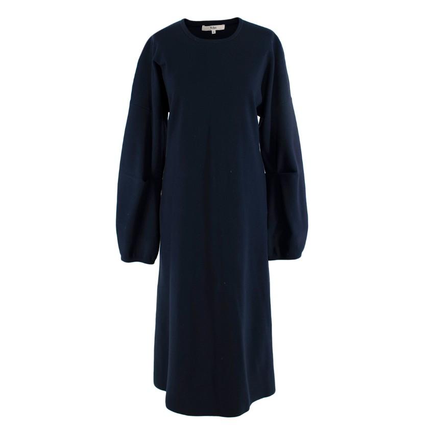 Tibi Navy Wool Sculptured Sleeve Dress. Sold Out.