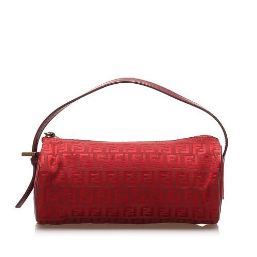 Fendi Red Zucchino Canvas Top Handle Bag