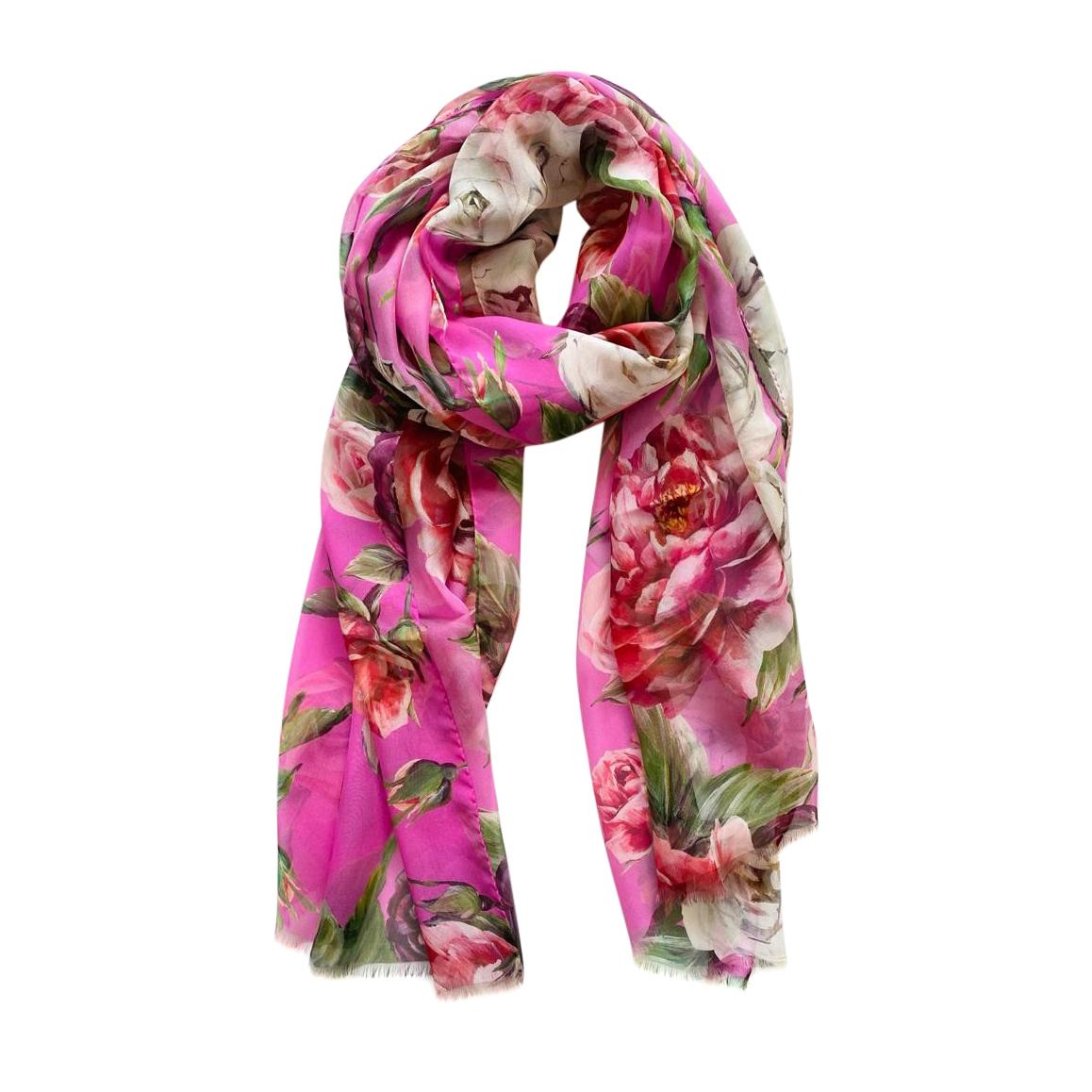 Dolce & Gabbana floral print pink silk wrap scarf