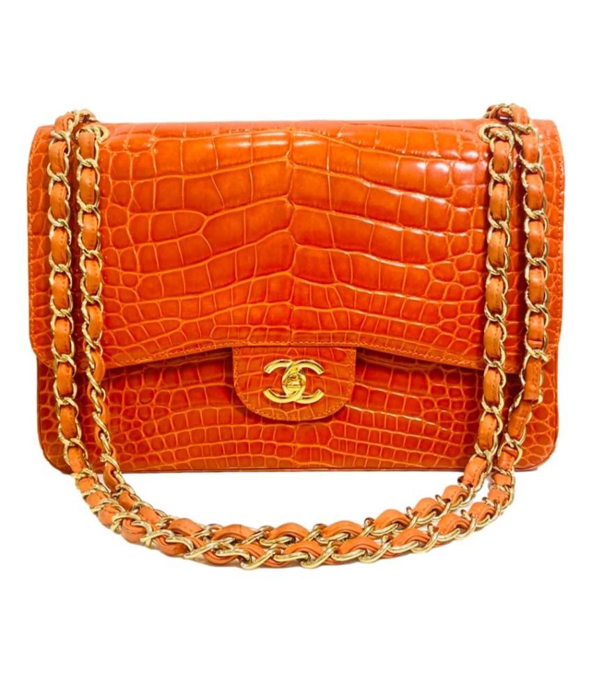 Chanel Orange Shiny Alligator Jumbo Double Flap
