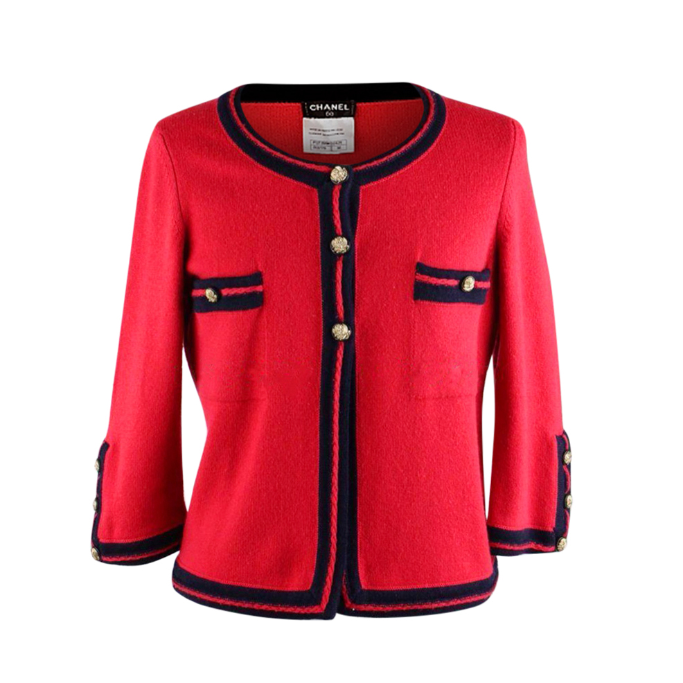 Chanel Red & Black Cashmere Cruise Jacket