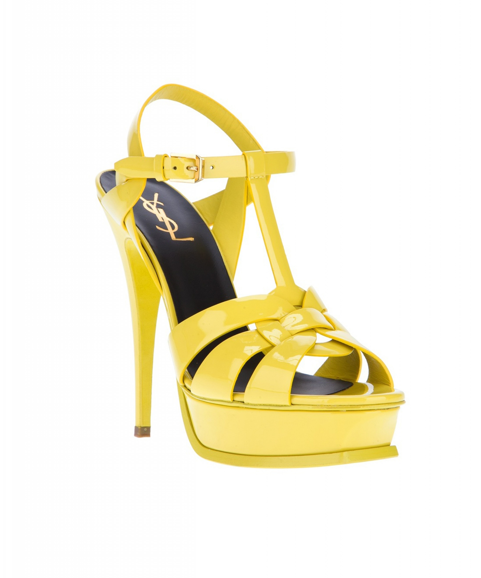 Saint Laurent Yellow Patent Leather Tribute Sandals