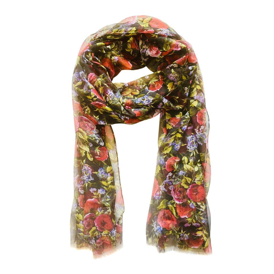 Dolce & Gabbana Black Floral Print Silk Scarf