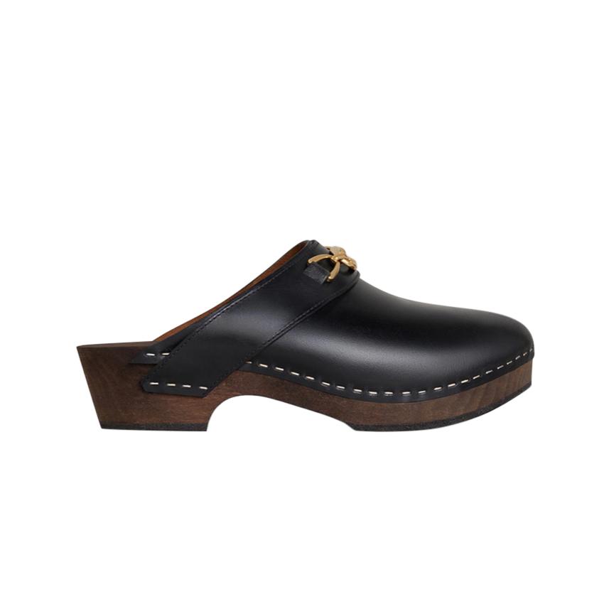 Celine Les Bois black leather clogs