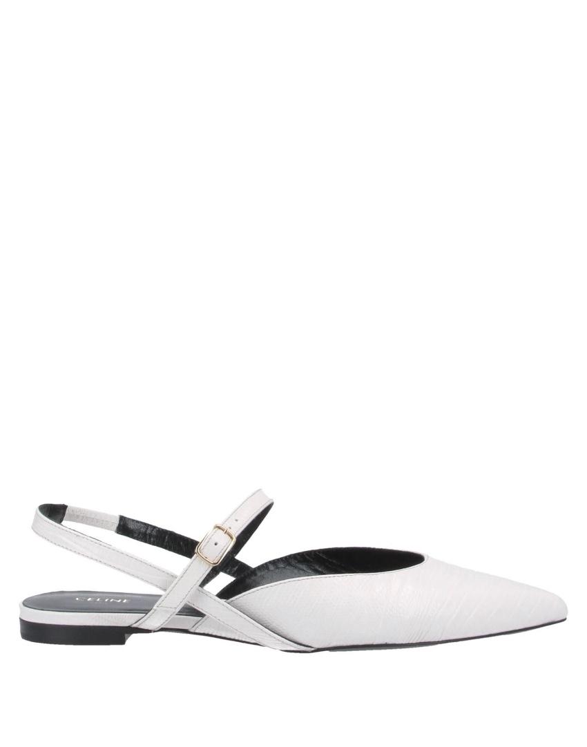 Celine White Leather Snakeskin Embossed Slingback Flat Sandals