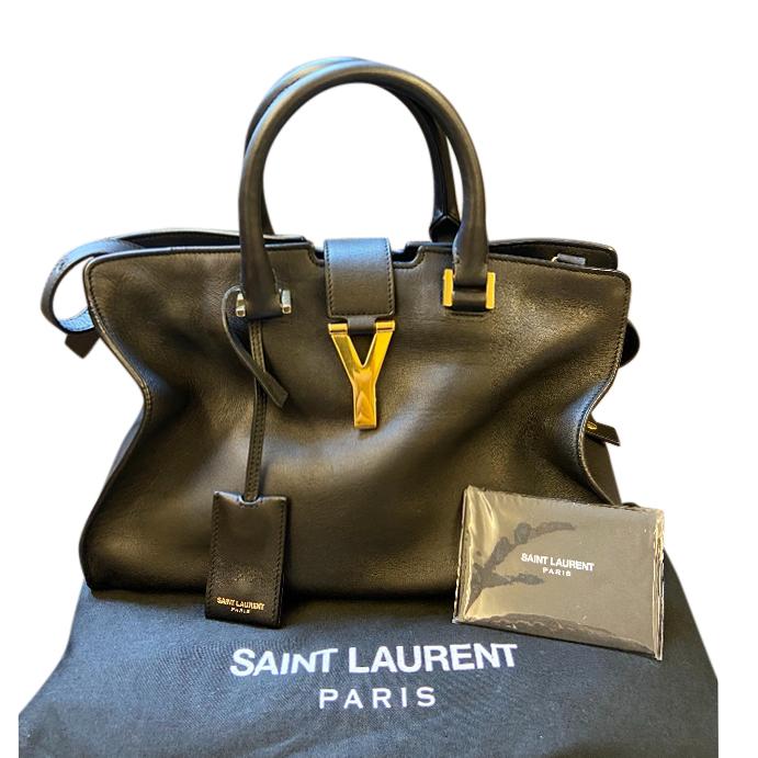 Saint Laurent Black Leather Monogram Cabas Tote Bag