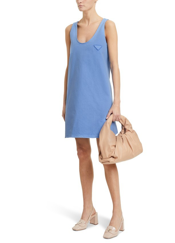 Prada Blue Denim Sleeveless Mini Dress