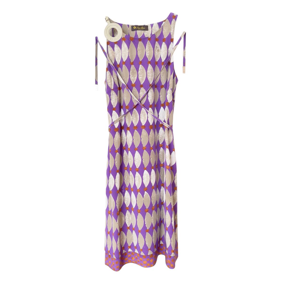 Loro Piana Leather Trim Silk Printed Dress