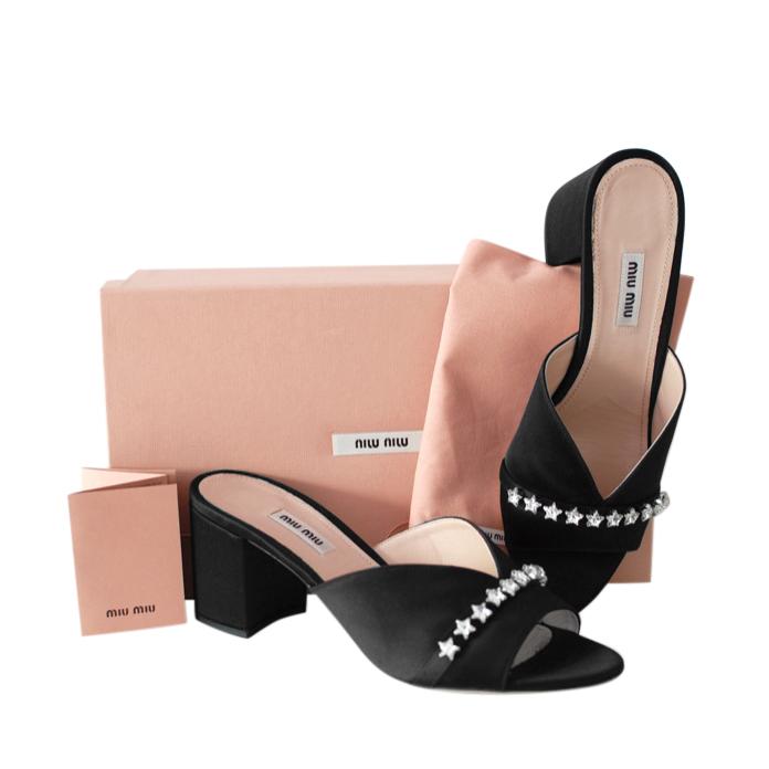 Miu Miu Black Satin Crystal Trim V-Cut Sandals