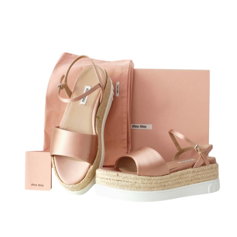 Miu Miu Pink Satin Espadrille Flatform Sandals