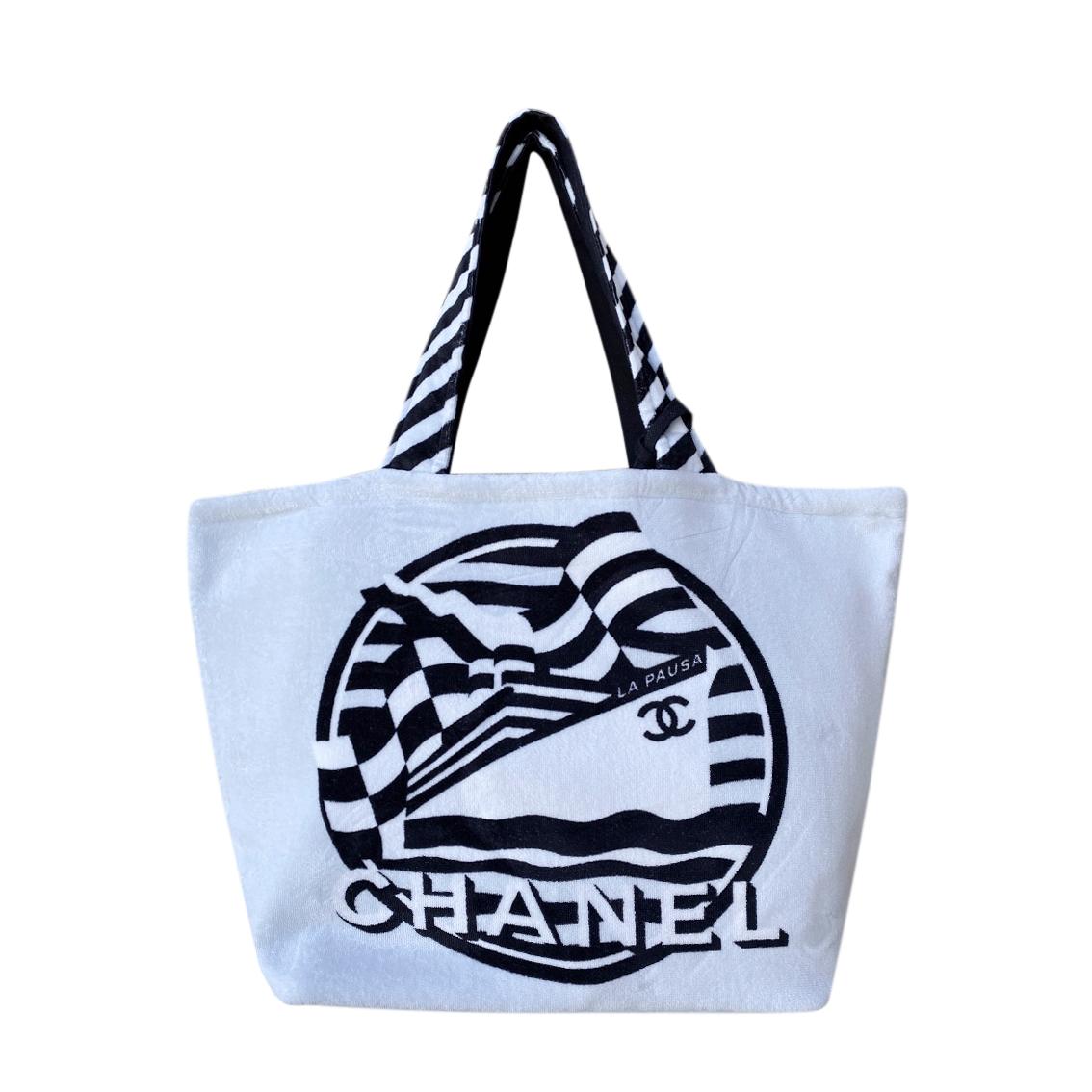 Chanel Printed Cotton Beach Bag & Purse