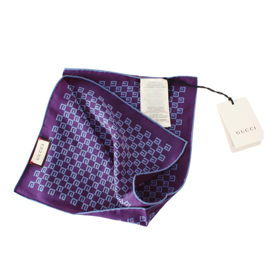 Gucci Blue Supreme Monogram Reversible Silk Scarf