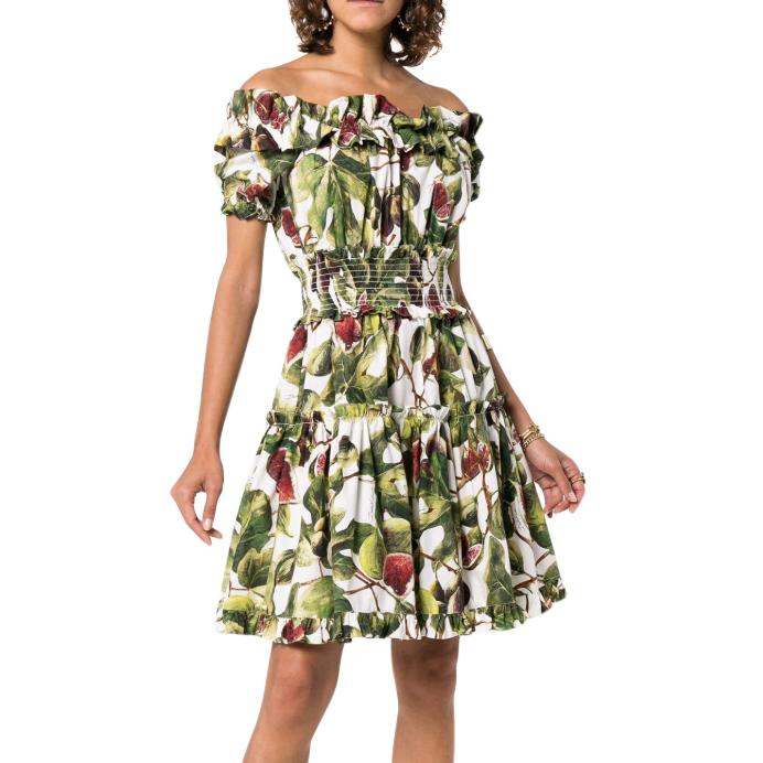 Dolce & Gabbana Fig Print Tiered Off-Shoulder Dress