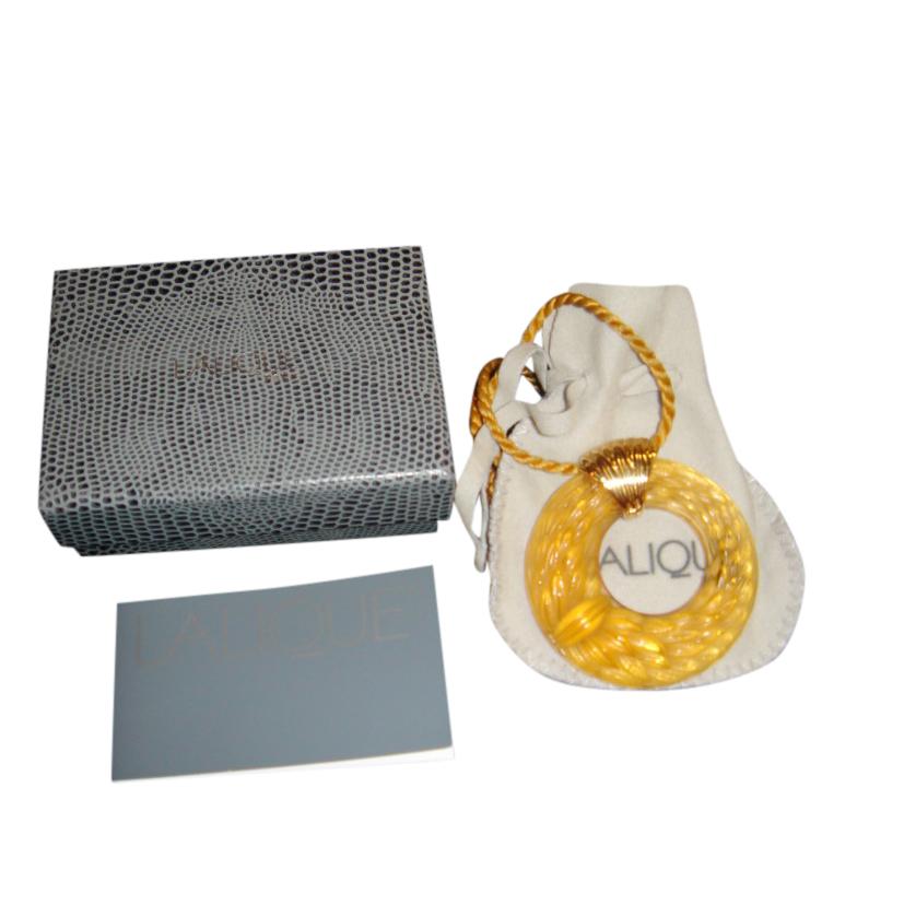 Lalique Amber Large Plumes Pendant Necklace