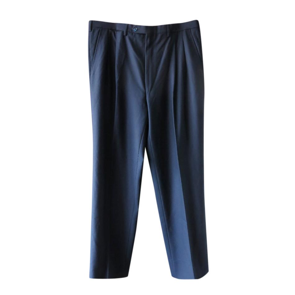 Bijan Navy Fine Wool Tailored Trousers