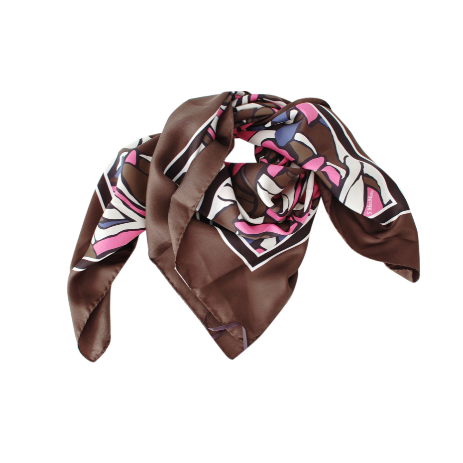 S'Max Mara Brown & Pink Silk 90cm Scarf