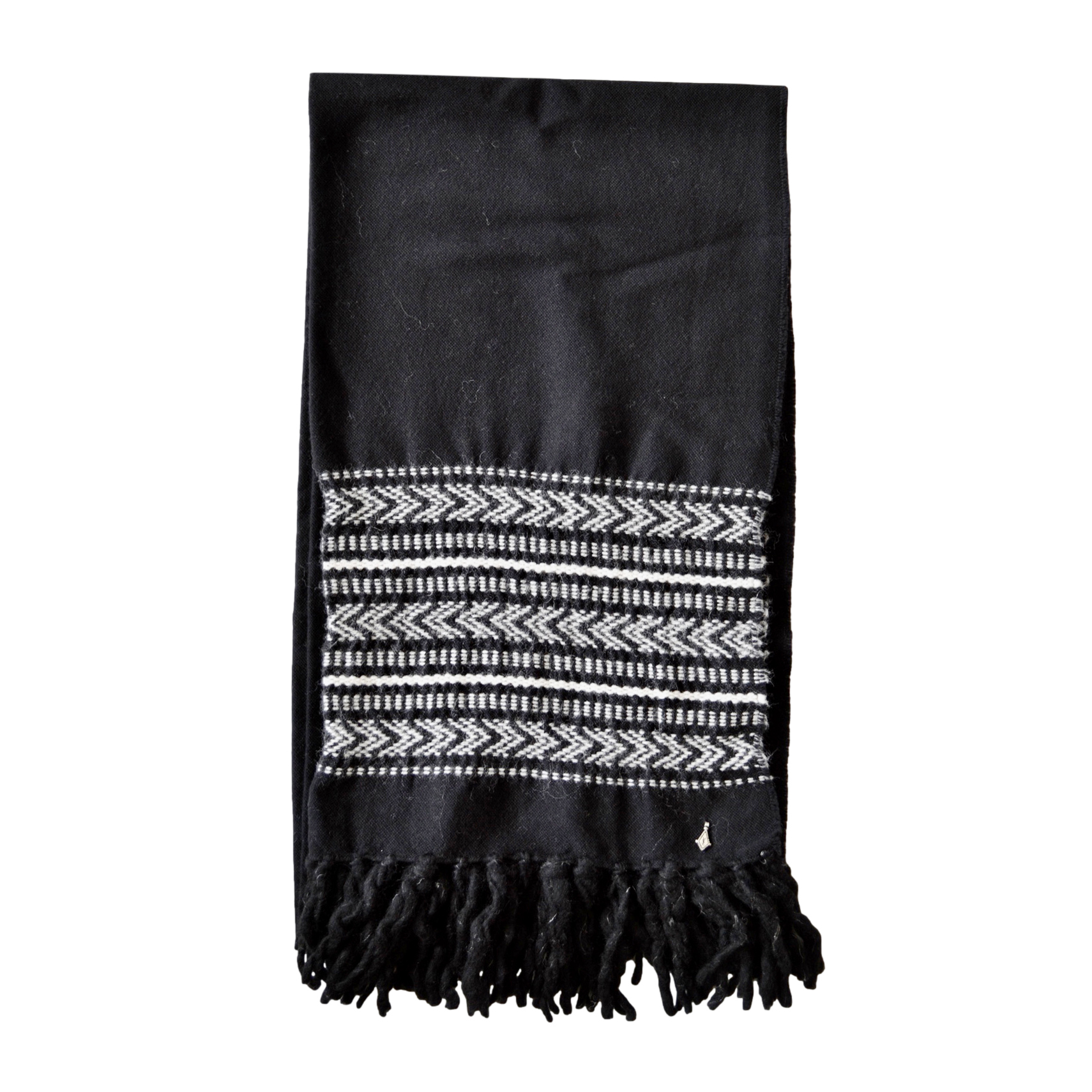 Saint Laurent Black Embroidered Wool Blend Scarf