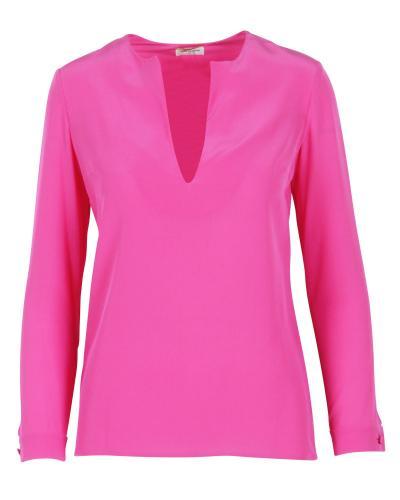Saint Laurent Pink Silk V-Neck Top