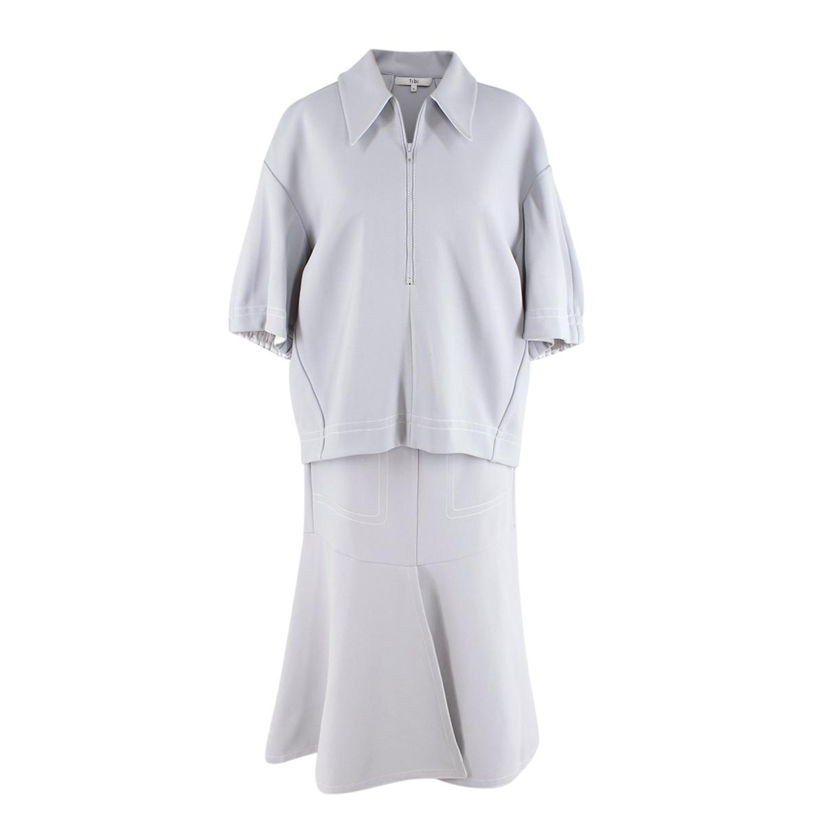 Tibi Light Grey Frisse Ponte Oversize Polo Shirt and Midi Skirt Set