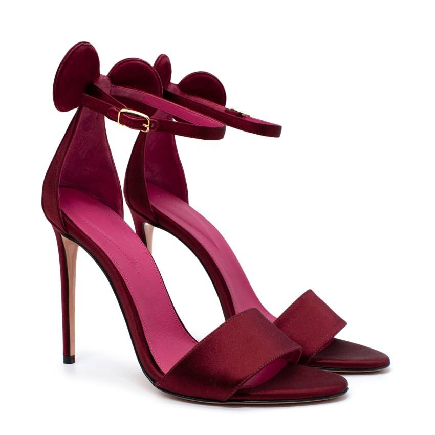 Oscar Tiye Cherry Red Satin Minnie Heel Sandals