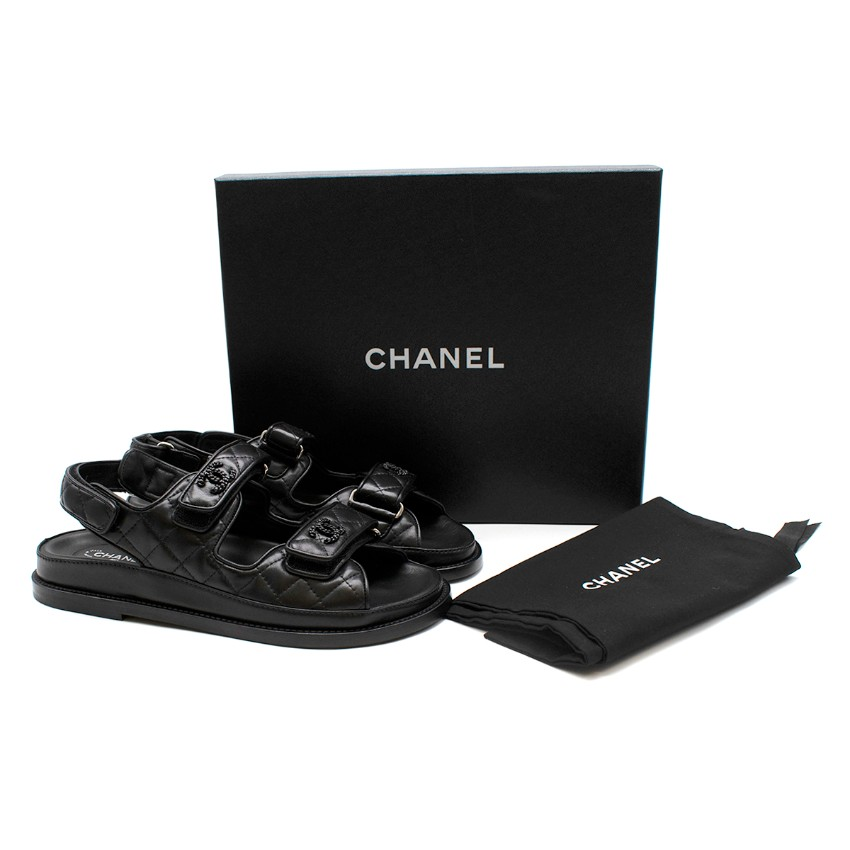 Chanel Black Quilted Lambskin Dad Sandals - Sold Out Colourway