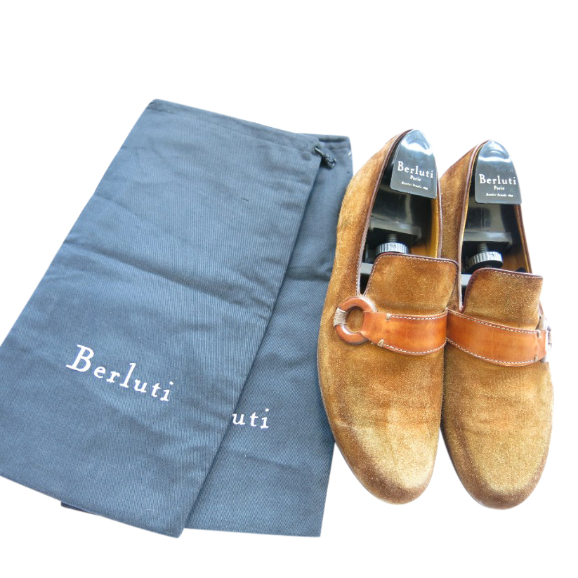 Berluti Handmade Suede Leather Trim Loafers